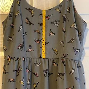 XHILARATION: Gray bird dress with braided peekaboo